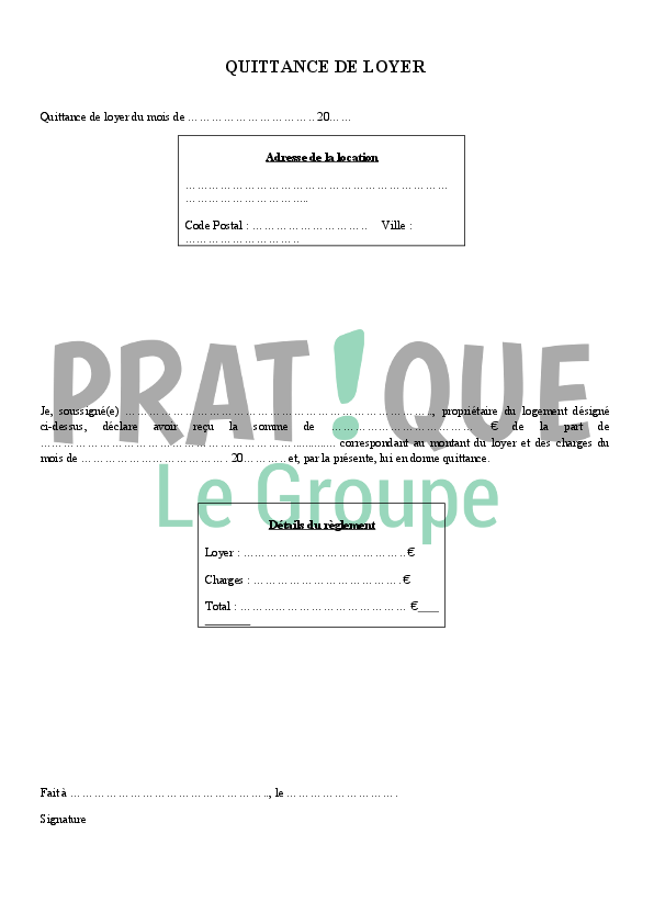 Modele De Quittance De Loyer Pratique Fr