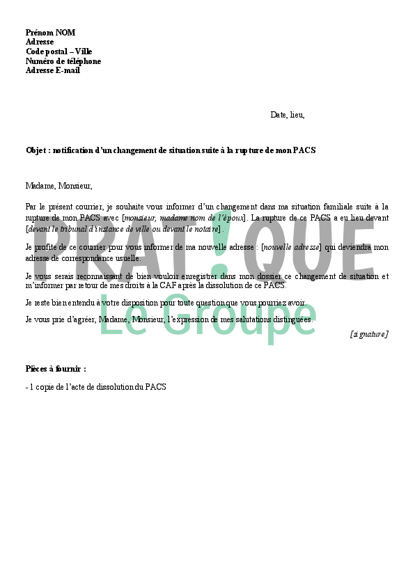 Notification A La Caf Du Changement De Situation Suite A La Rupture