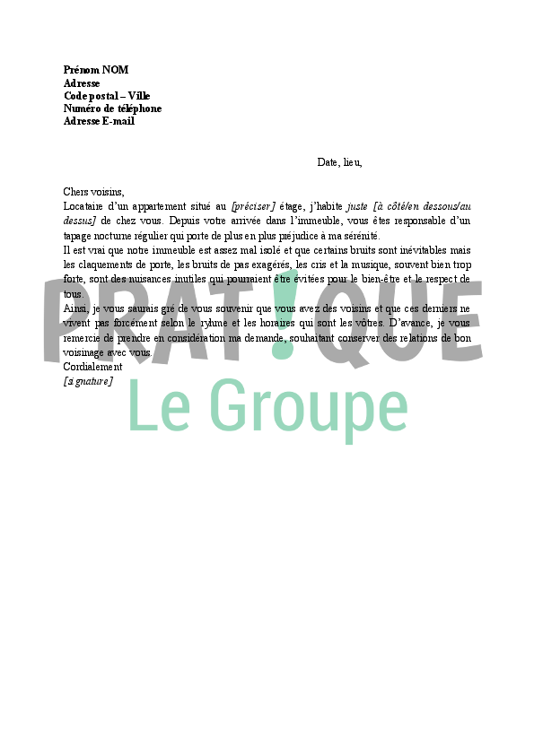 lettre tapage nocturne