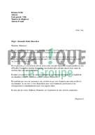 Modèle de lettre de demande d'aide financière