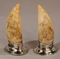 Paire de scrimshaw au thème religieux (Angleterre 1832)