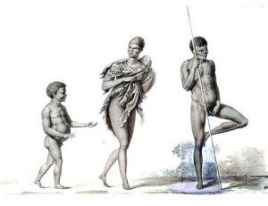 Famille d'aborigènes australiens, lavis de Nicolas Petit, fin du 19e siècle