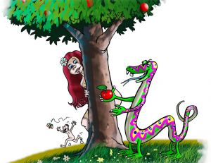 Illustration d'Eve rencontrant le serpent