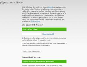 Configuration de l'anti spam
