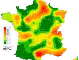 Répartition des cas de gastro-entérites en France en 2011