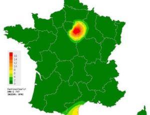 Répartition des cas d'oreillons en France en 2011