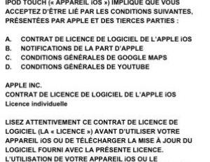 Conditions générales de la mise à jour de l'iPhone