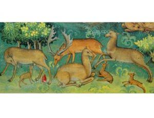 """Enluminure représentant une famille de daims ornant """"Le Grand Livre de la Chasse"""" de Gaston de Foix"""