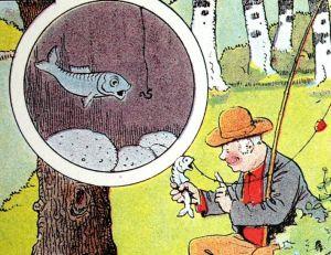 Un pêcheur et une carpe, dessin de Benjamin Rabier