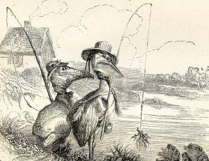 Un héron à la pêche, gravure de Grandville