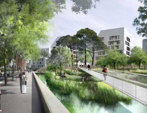 Exemple d'écoquartier que souhaiterait mettre en place la mairie de Paris prochainement au niveau de Montparnasse-Raspail - copyright Semapa