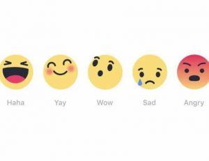 """Facebook teste actuellement des emojis en complément du """"like"""" sur quelques plateformes en Europe"""