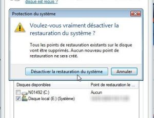Désactivation de la restauration