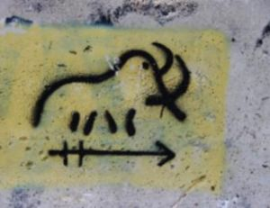 Graffiti rupestre de mammouth. Dessin contemporain