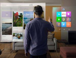 Aperçu du potentiel du casque de réalité virtuelle Hololens - Microsoft copyright