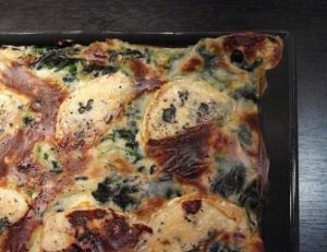 Lasagnes aux épinards et au bleu de Bresse
