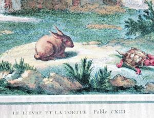 Illustration de la fable du lièvre et de la tortue