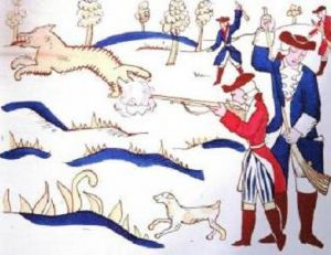 Dessin représentant une chasse aux loups au 18ème siècle