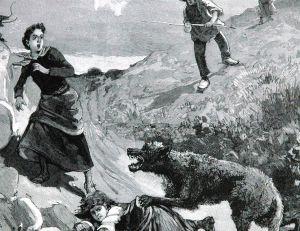 Gravure représentant une jeune fille attaquée par un loup