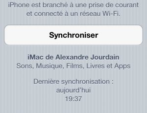 Menu Synchronisation Wi-Fi iTunes