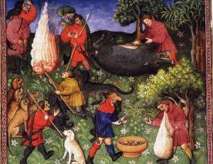 Enluminure tirée du Grand livre de la Chasse de Gaston de Foix, 14ème siècle