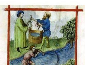 Gravure orientale du 15e siècle représentant la pêche d'une lamproie