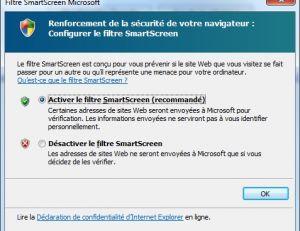 Ecran Smartscreen d'Explorer