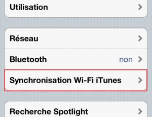 Synchronisation Wi-Fi iTunes