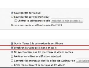"""Sélectionnez """"Synchroniser avec cet iPhone par Wi-Fi"""""""