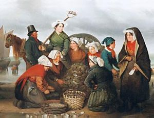 Femmes employées au tri des huîtres, Oscar Guet 1827, musée du Vieux Granvil