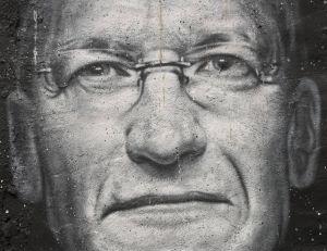 Le visage de Tim Cook tagué dans une rue - copyright Flickr CC.