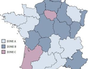 Carte des zones en France métropolitaine