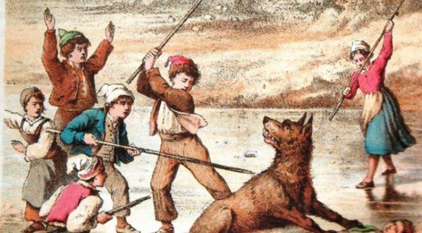 Gravure représentant des enfants chassant un loup qui essaie de dévorer l'un des leurs