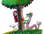 Illustration d'Eve rencontrant le serpent