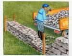 Construction d'un muret en pierres sèches