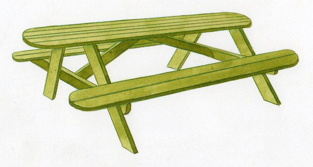 Table pique nique construire une table de pique nique for Construire table jardin bois
