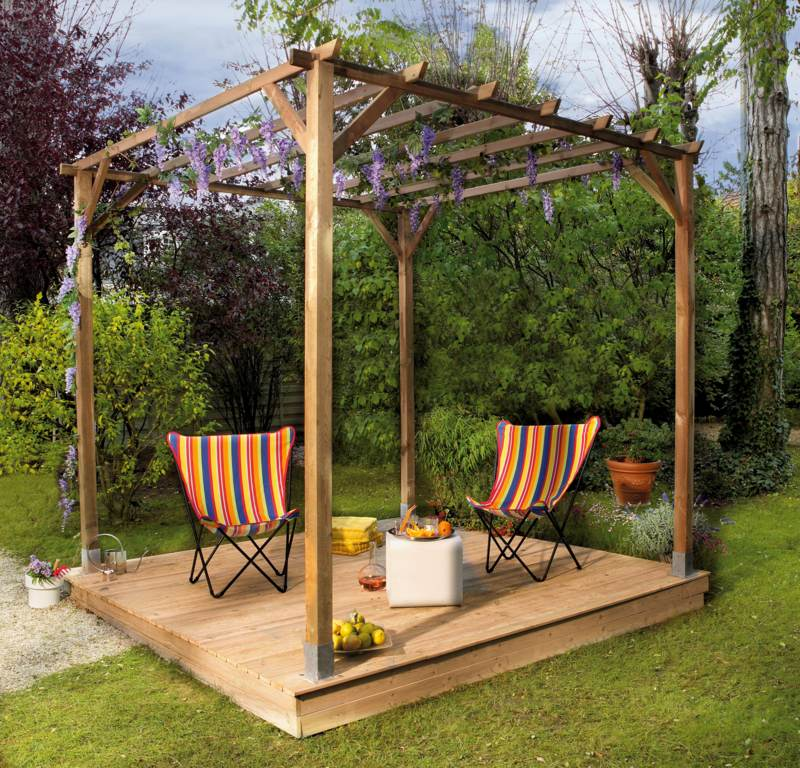 pergola jardin bois. Black Bedroom Furniture Sets. Home Design Ideas